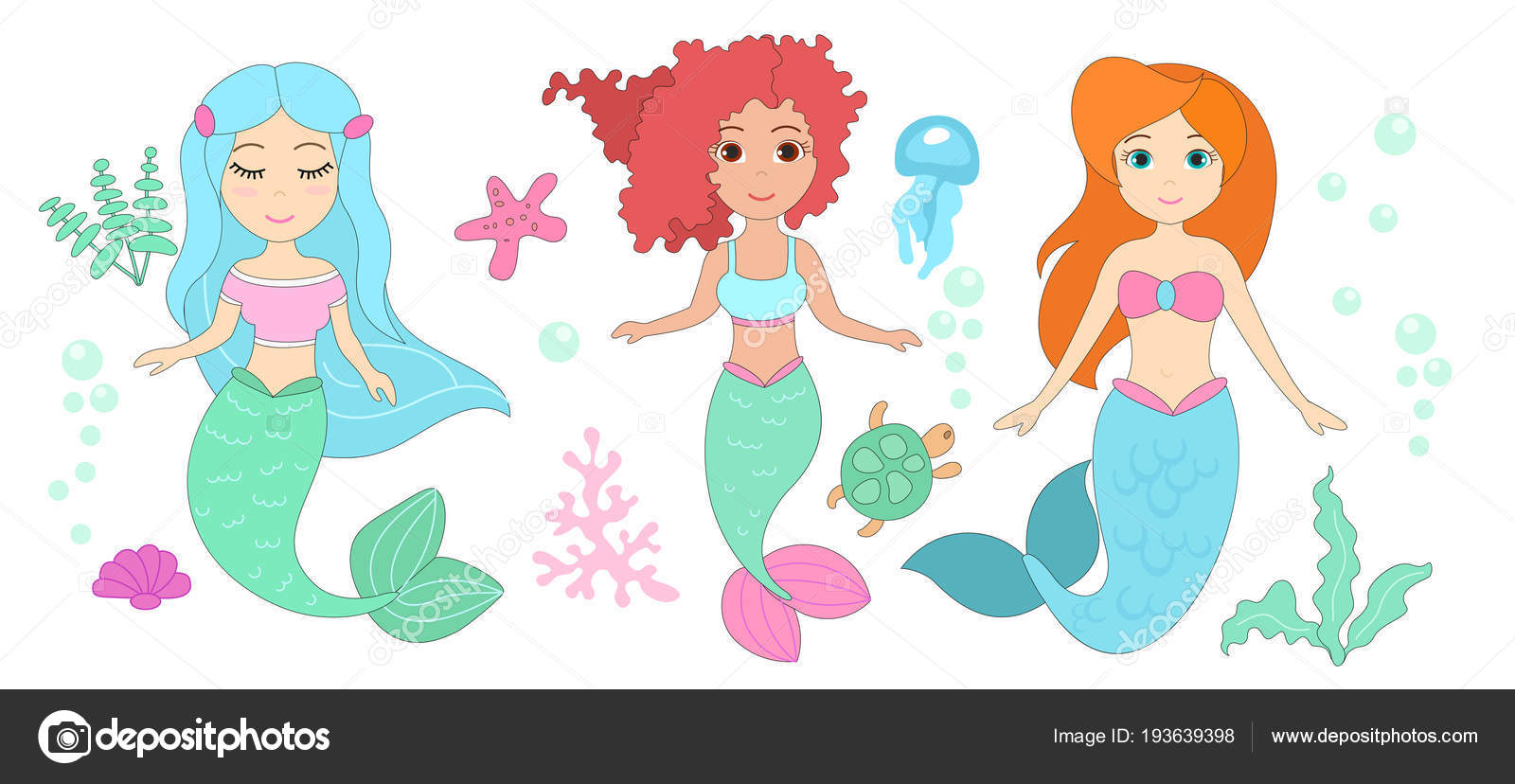 Animated Pictures Of Seashells vector illustration set of cute mermaids with different hair