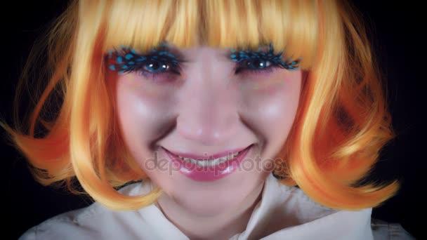 4 K Halloween Strzał Lalka Makijaż Kobieta Jedzenie Lizak Wideo