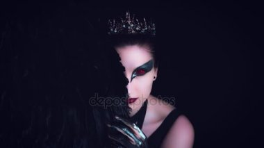 4K Halloween Horror Woman Posing Half face with Black Wing
