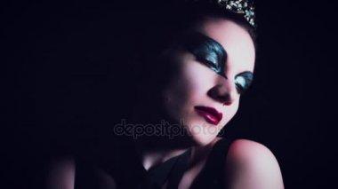 4K Halloween Horror Woman Gesturing with Red Eyes