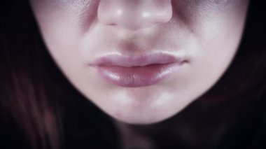 4k Close-up of Woman Lips Sore and Swell after Augmentation