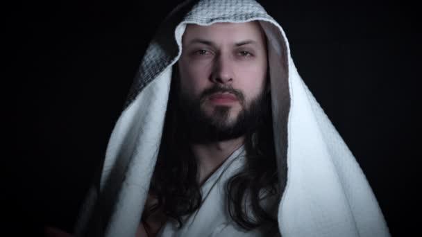 4k Religiöse Portrait Von Jesus Posing Wie Ein Heiliger Stockvideo
