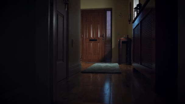4 k Dolly House přední dveře, dítě užívající doručit balík