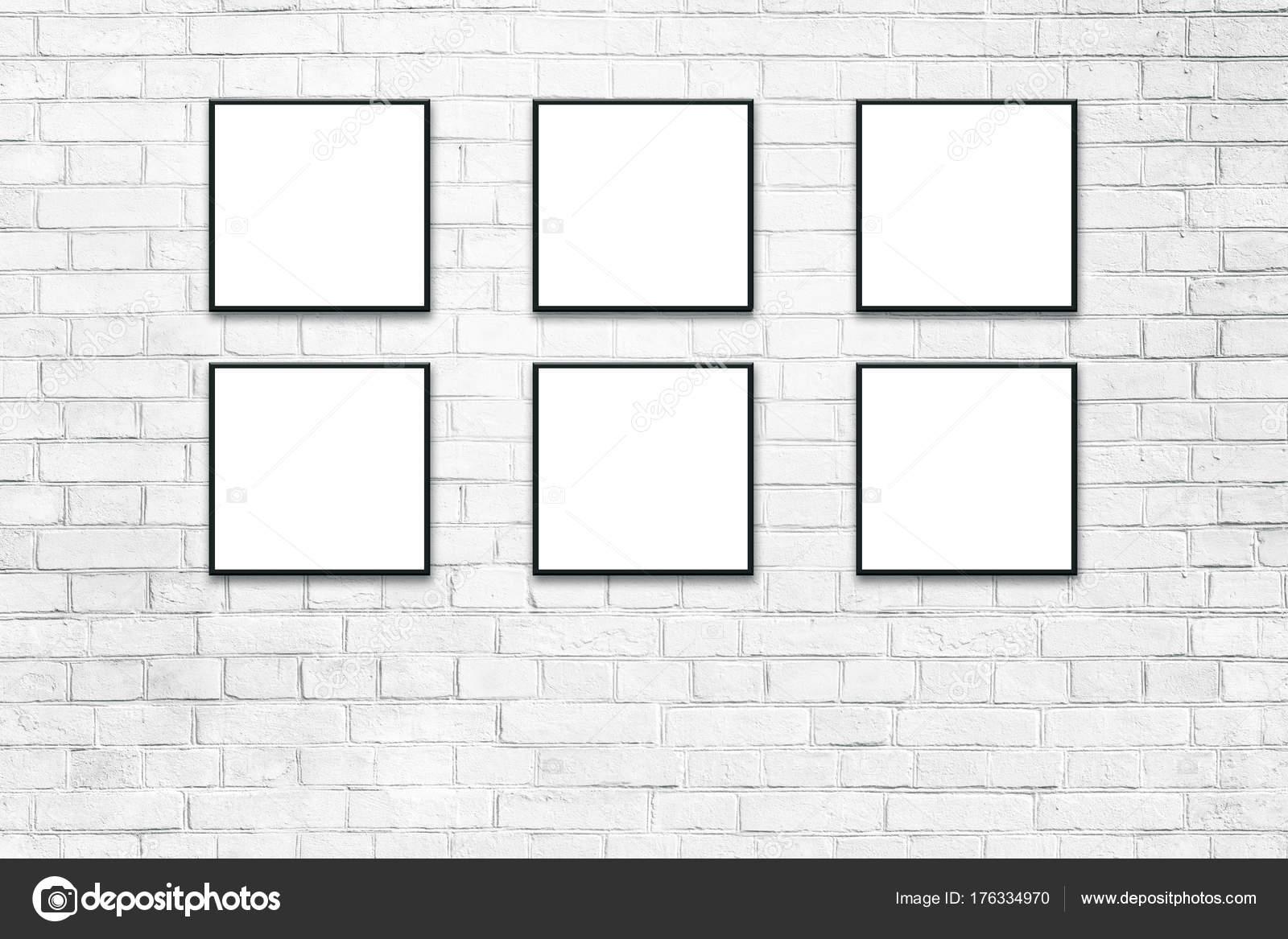 Carteles blanco en marcos negros imitan para arriba — Foto de stock ...