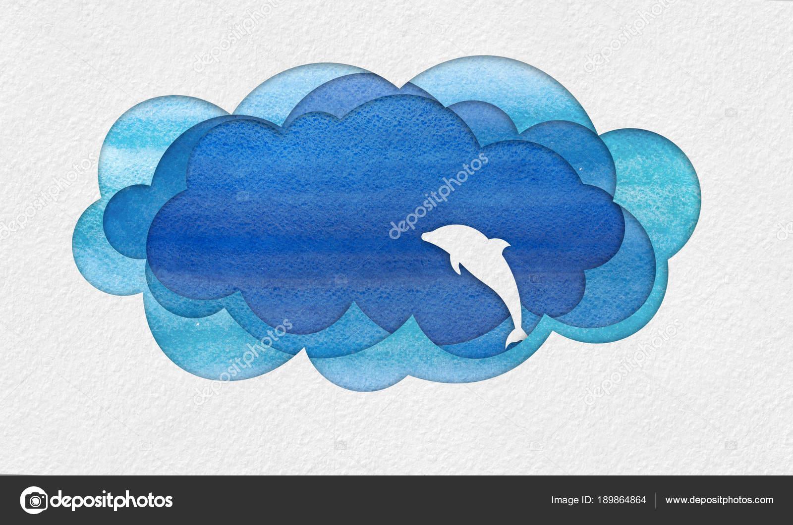 Cutout seascape applique with dolphin u2014 stock photo © evorona #189864864