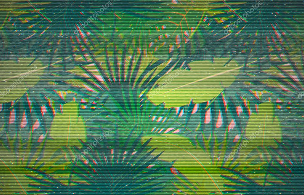 Colorful pattern illustration of palm leaves
