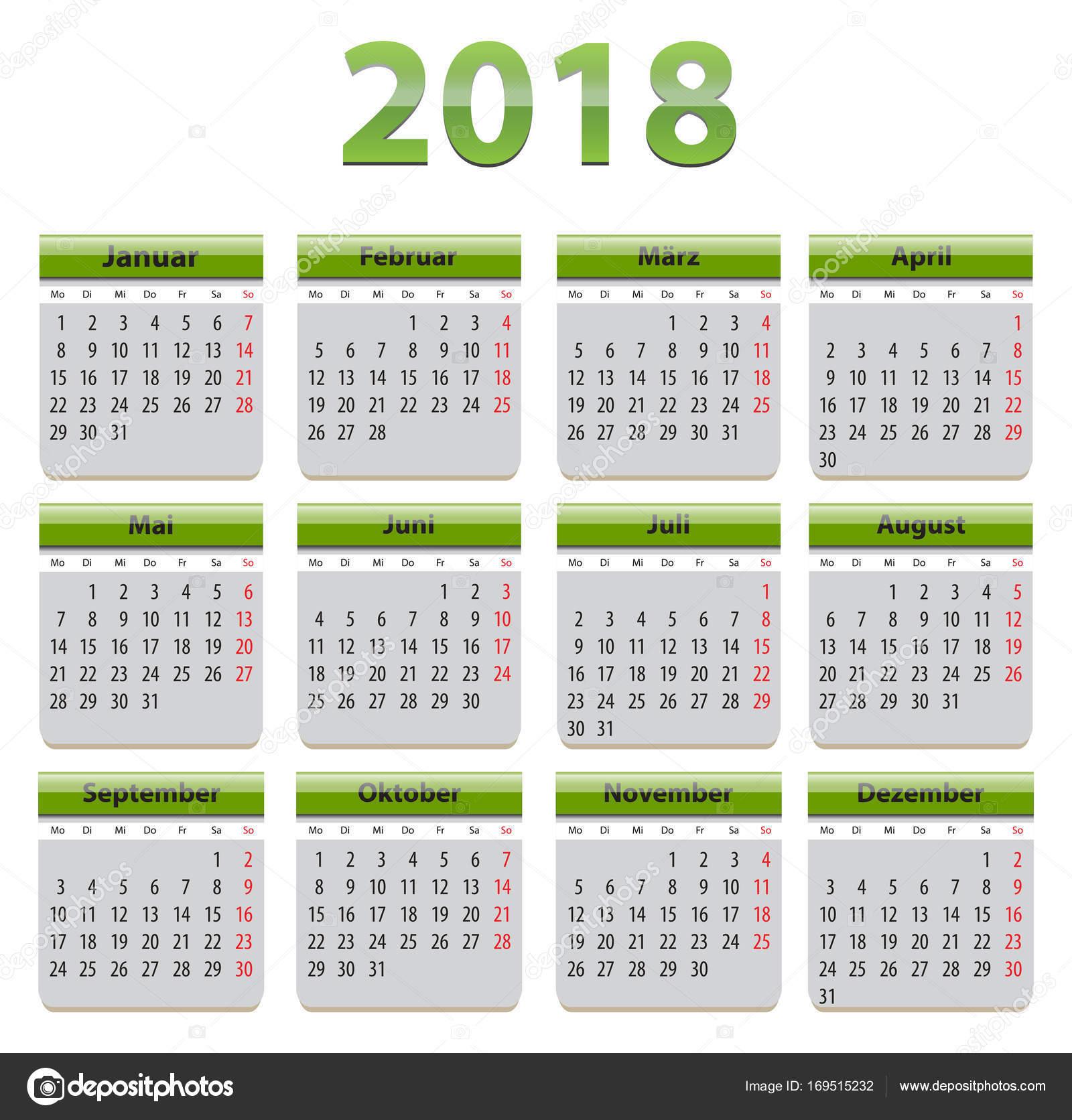 2018 German calendar — Stock Vector © mmarikk #169515232