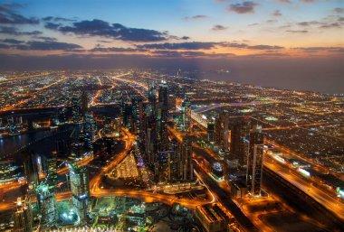 Dubai cityscape skyscrapers panorama night
