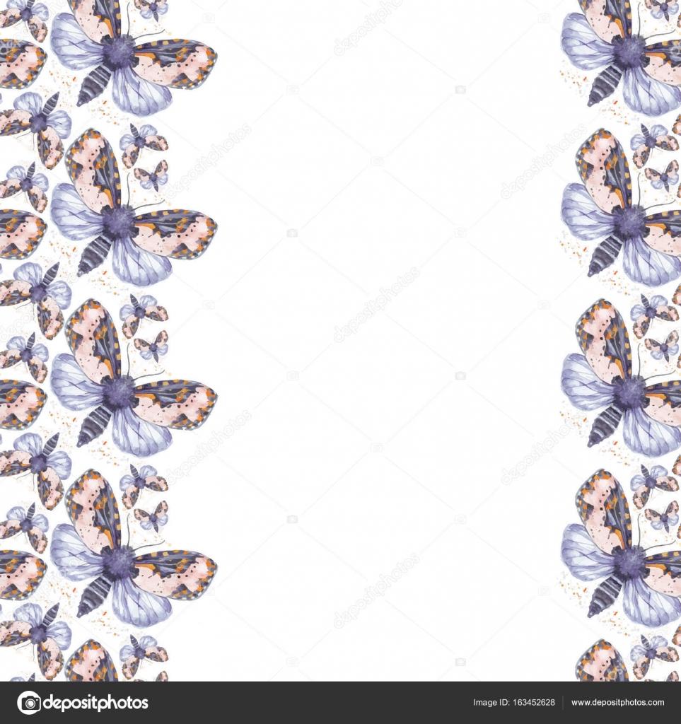 Zeichnung Aquarell zottigen Schmetterling Teddybär nahtlose ...