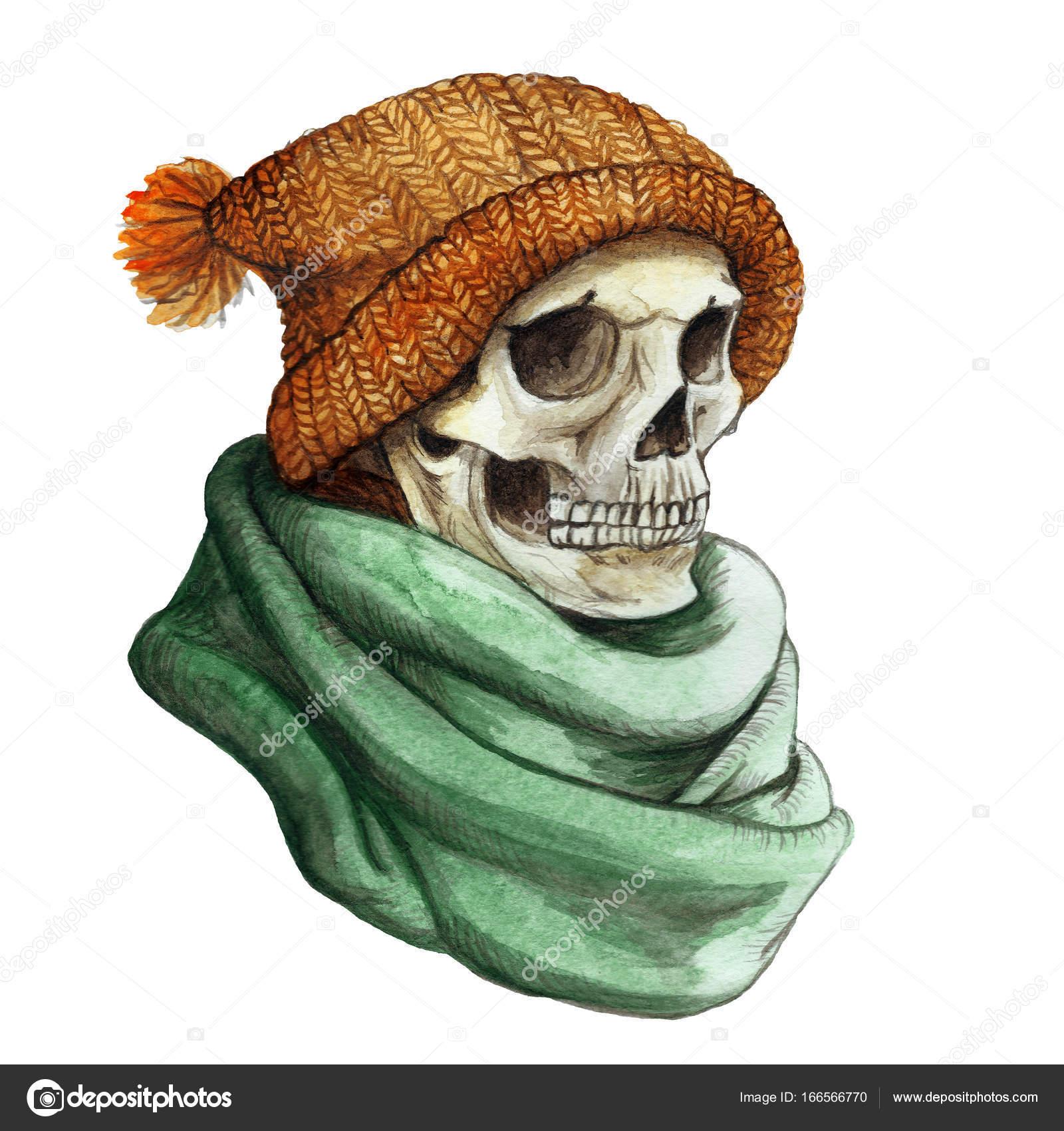 dibujo en el tema del cráneo humano aburrido de Halloween naranja ...