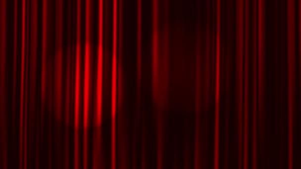 rode gordijnen open met schijnwerpers stockvideo