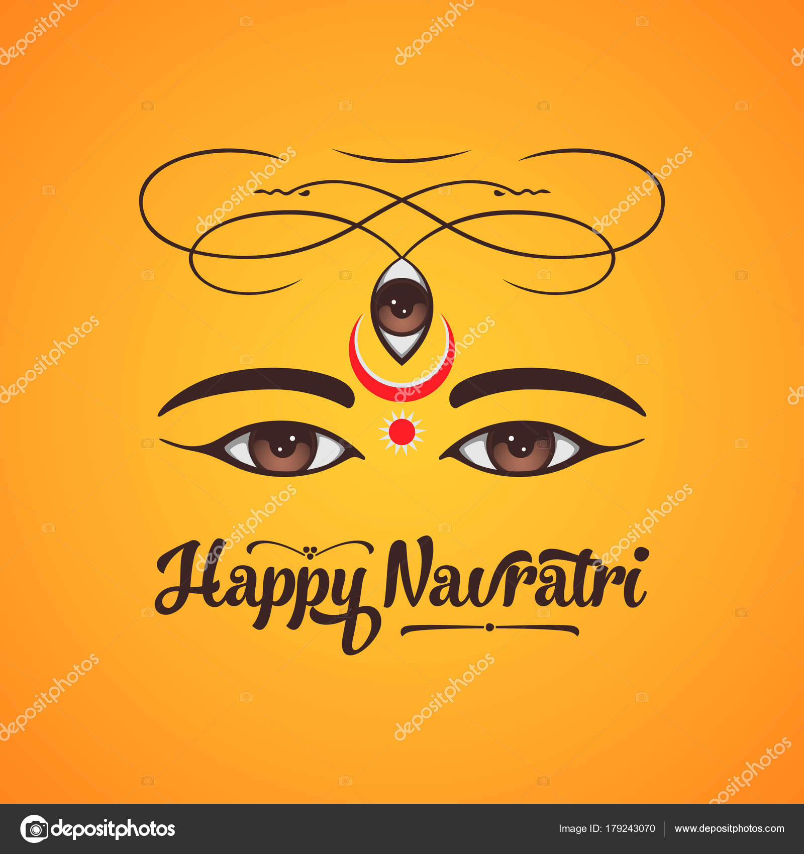 Happy Navratri Greeting Card Design Stock Vector Motokiwo