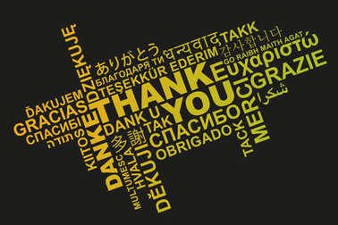thank you in different languages word cloud greeting card
