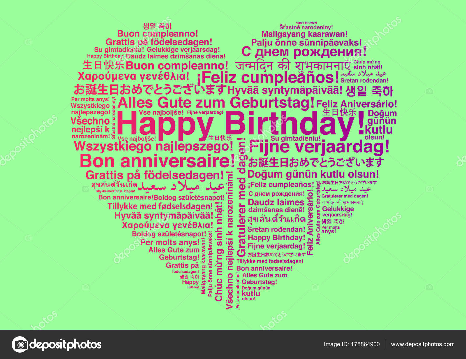 Happy Birthday Different Languages Wordcloud Heart Shape Greeting