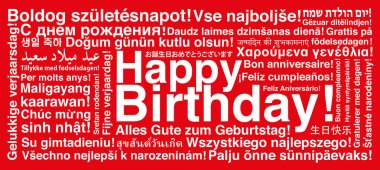 Happy Birthday in different languages wordcloud greeting card