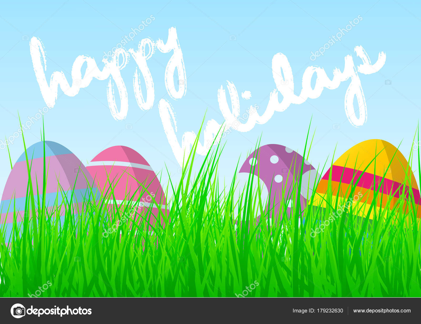 Colorful easter eggs fresh green grass blue sky words happy stock colorful easter eggs in fresh green grass against blue sky with words happy easter holidays greeting card vector by chris77ho m4hsunfo
