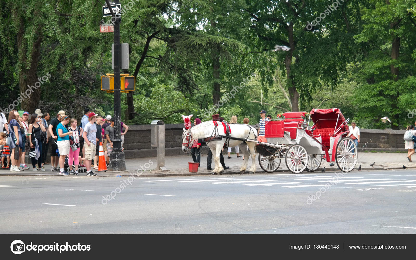 New York City, NY, USA 05 28 2016 red and white carriage and