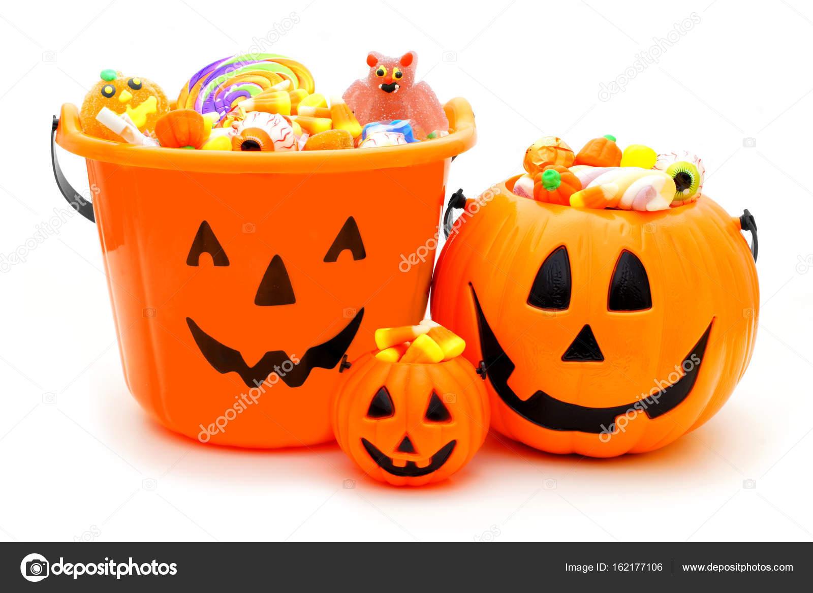 Halloween Snoep.Halloween Jack Van Lantaarn Snoep Houders Over Wit