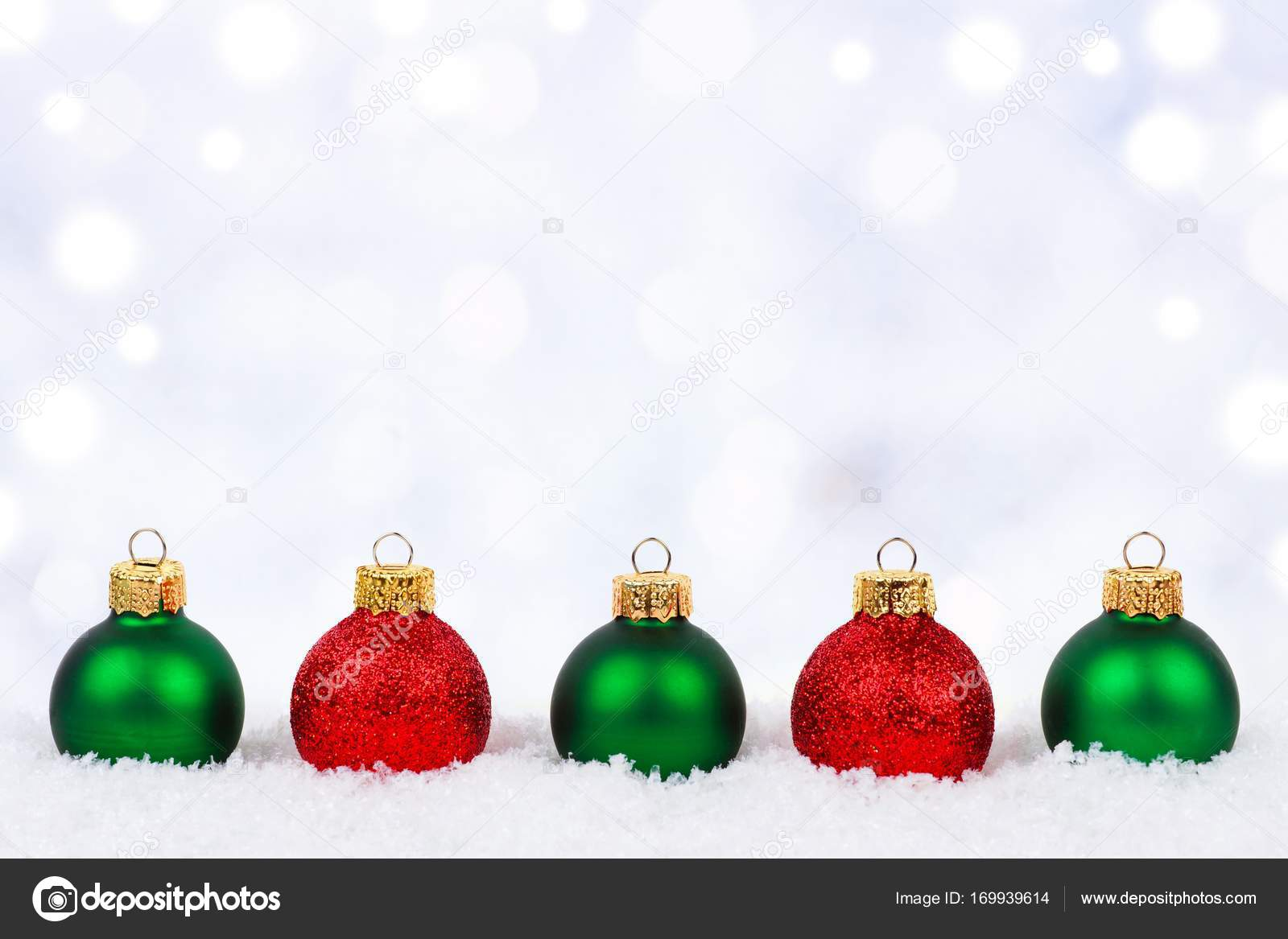 Red And Green Christmas Ornaments With Twinkling Background Stock