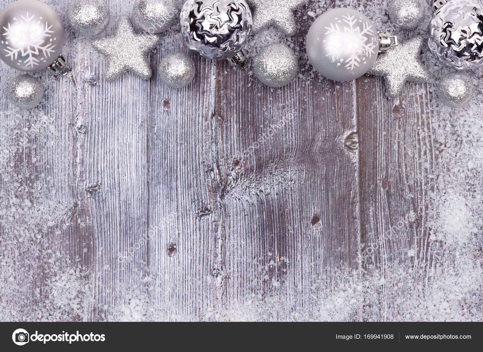 серебряный рождество верхняя граница на серый вуд стоковое