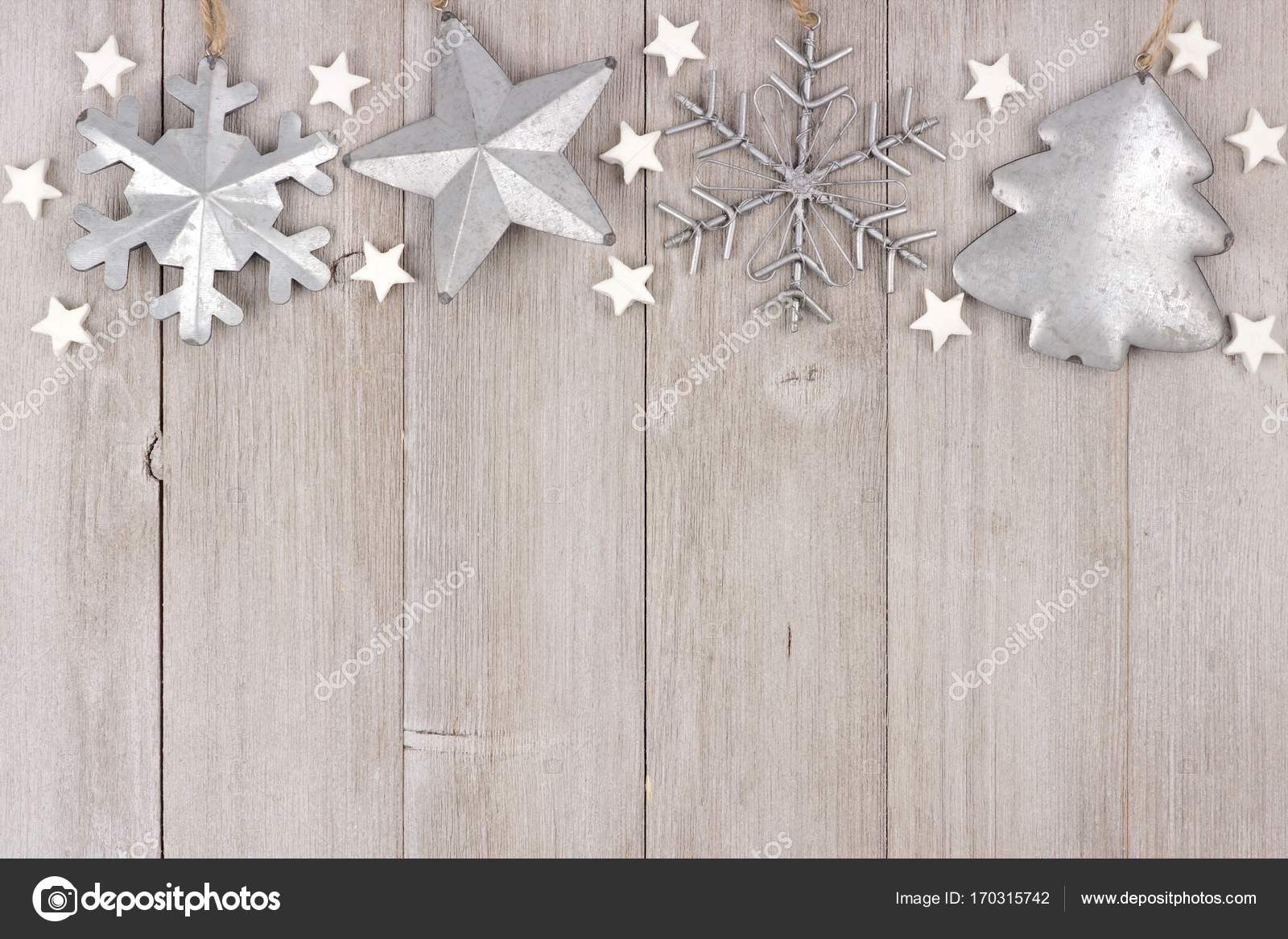 Christmas Top Border With Clay And Metal Ornaments On Wood Stock Photo