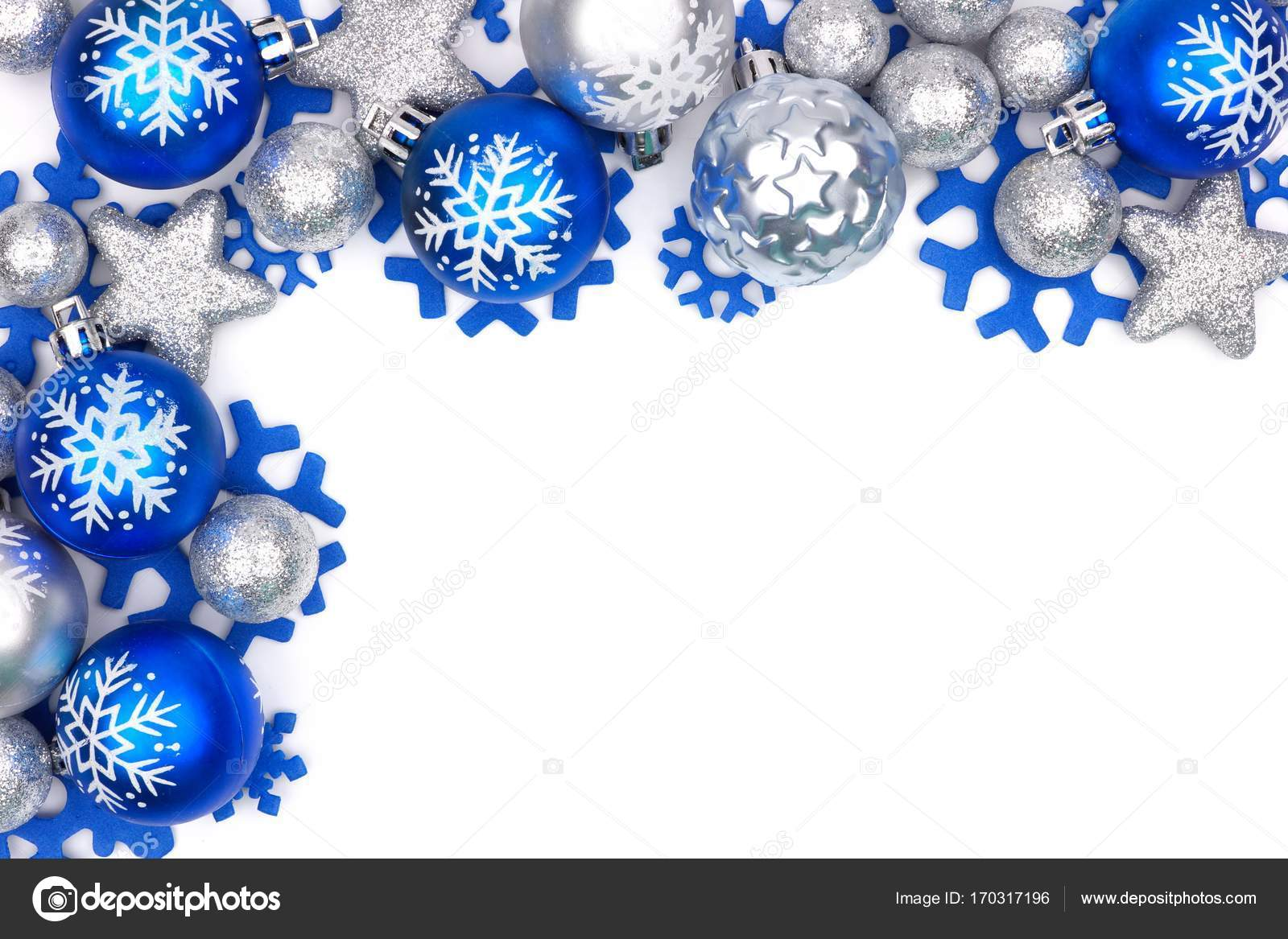 blue and silver christmas ornament corner border over white stock photo - Blue And Silver Christmas Ornaments