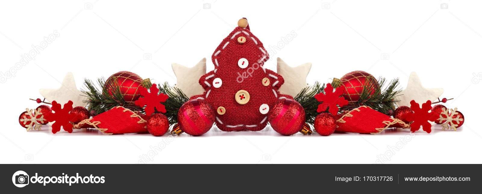 Rustic Red Christmas Border Isolated On White Stock Photo C Jenifoto 170317726