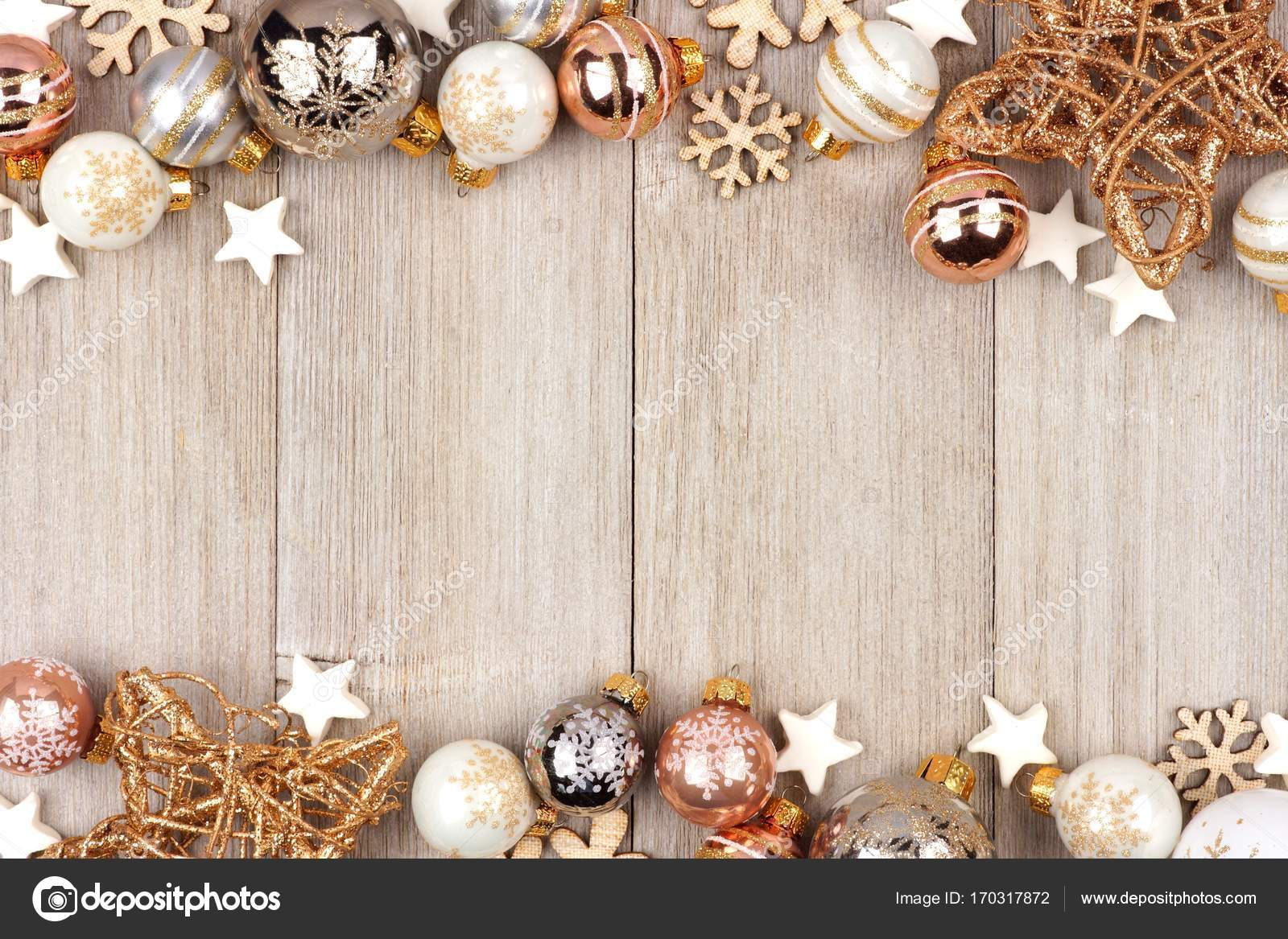 White and gold Christmas ornament double border on wood — Stock ...