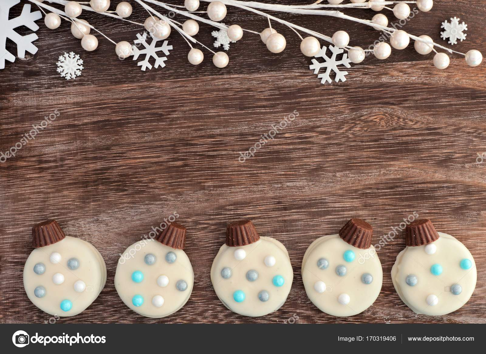 Christmas White Chocolate Ornament Cookies Double Border