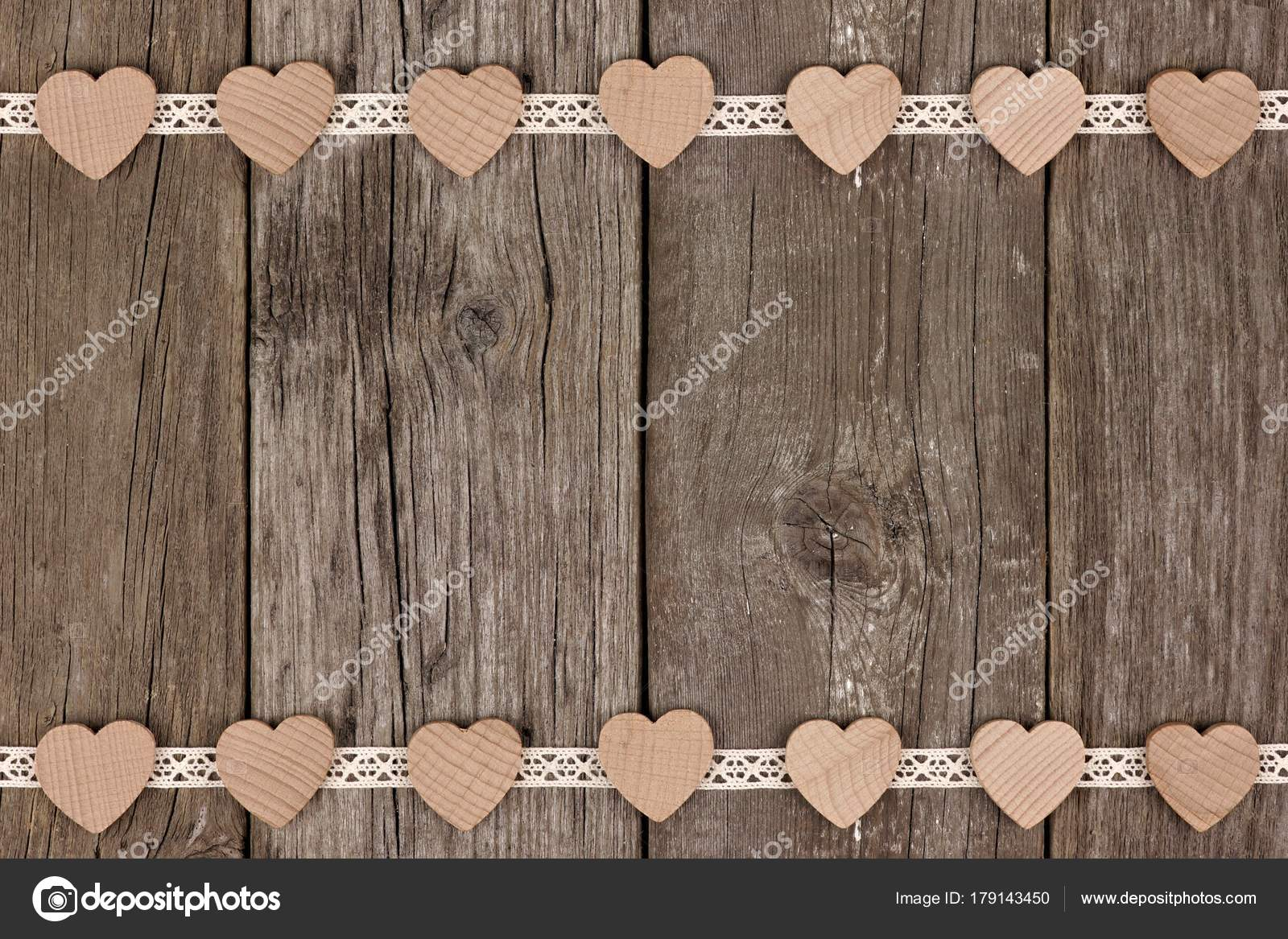 Double Border Of Wooden Hearts And Ribbon Lace Over A Rustic Background Photo By JeniFoto