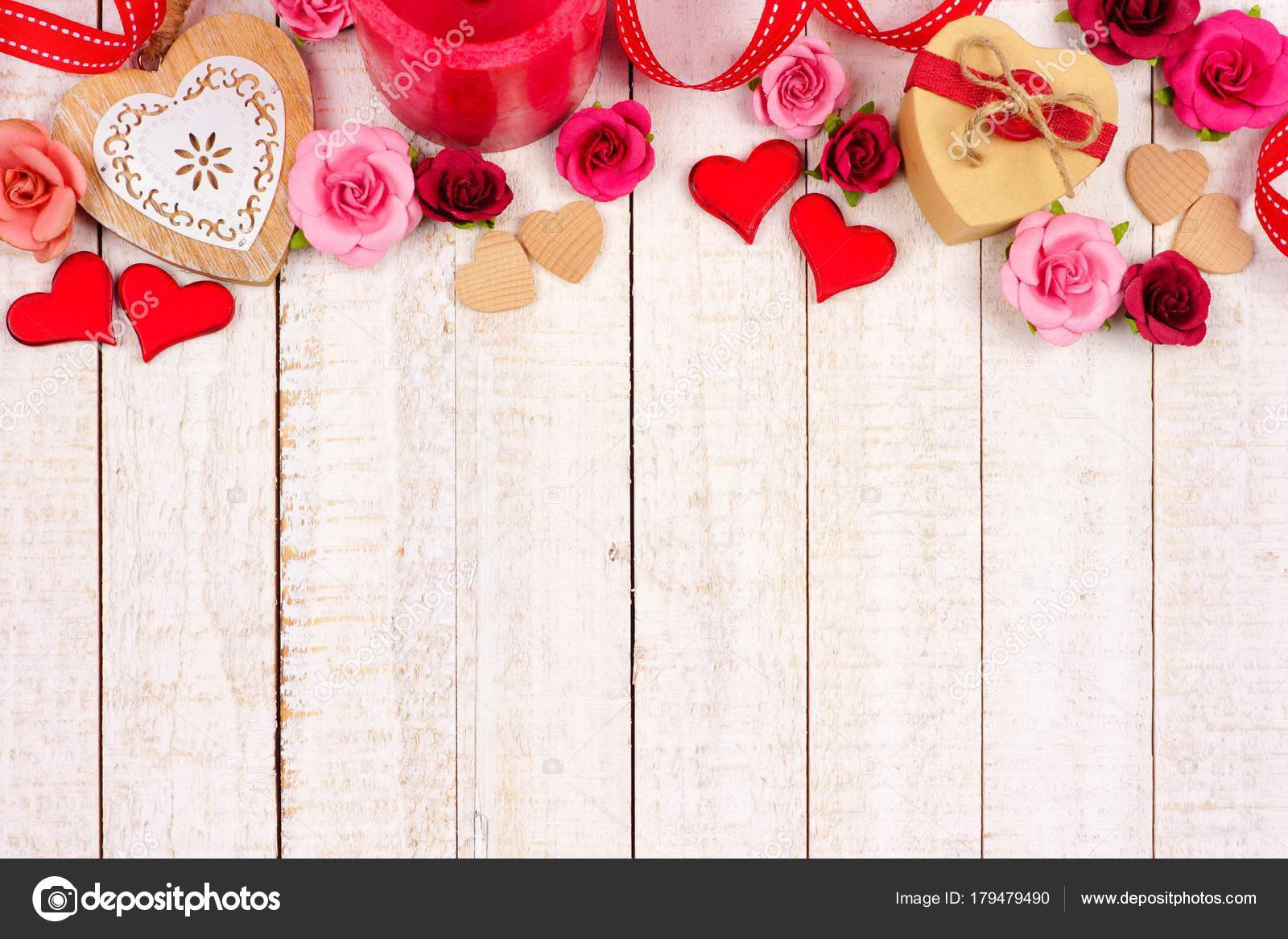 Valentines Day Top Border Hearts Flowers Gifts Decor Rustic White