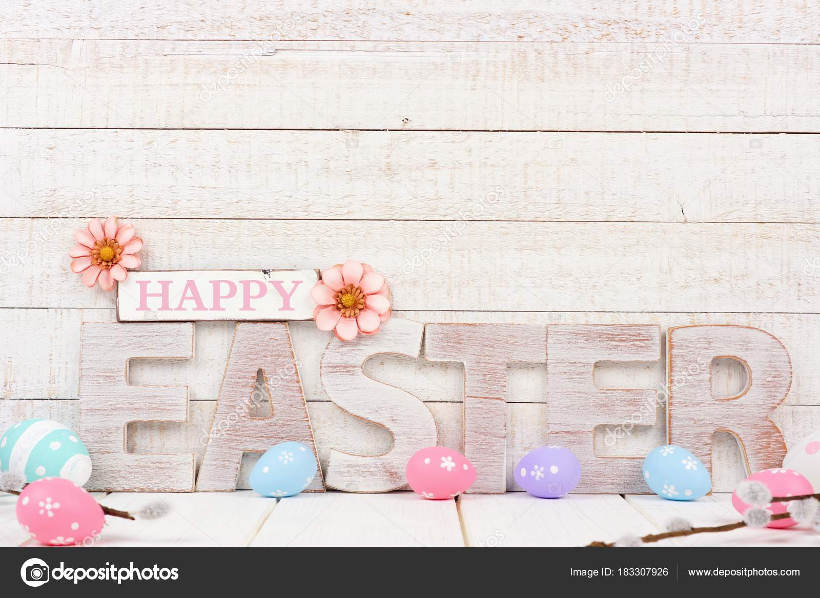 Happy Easter Spelled Rustic Wooden Letters Surrounding Eggs Side Stock Photo