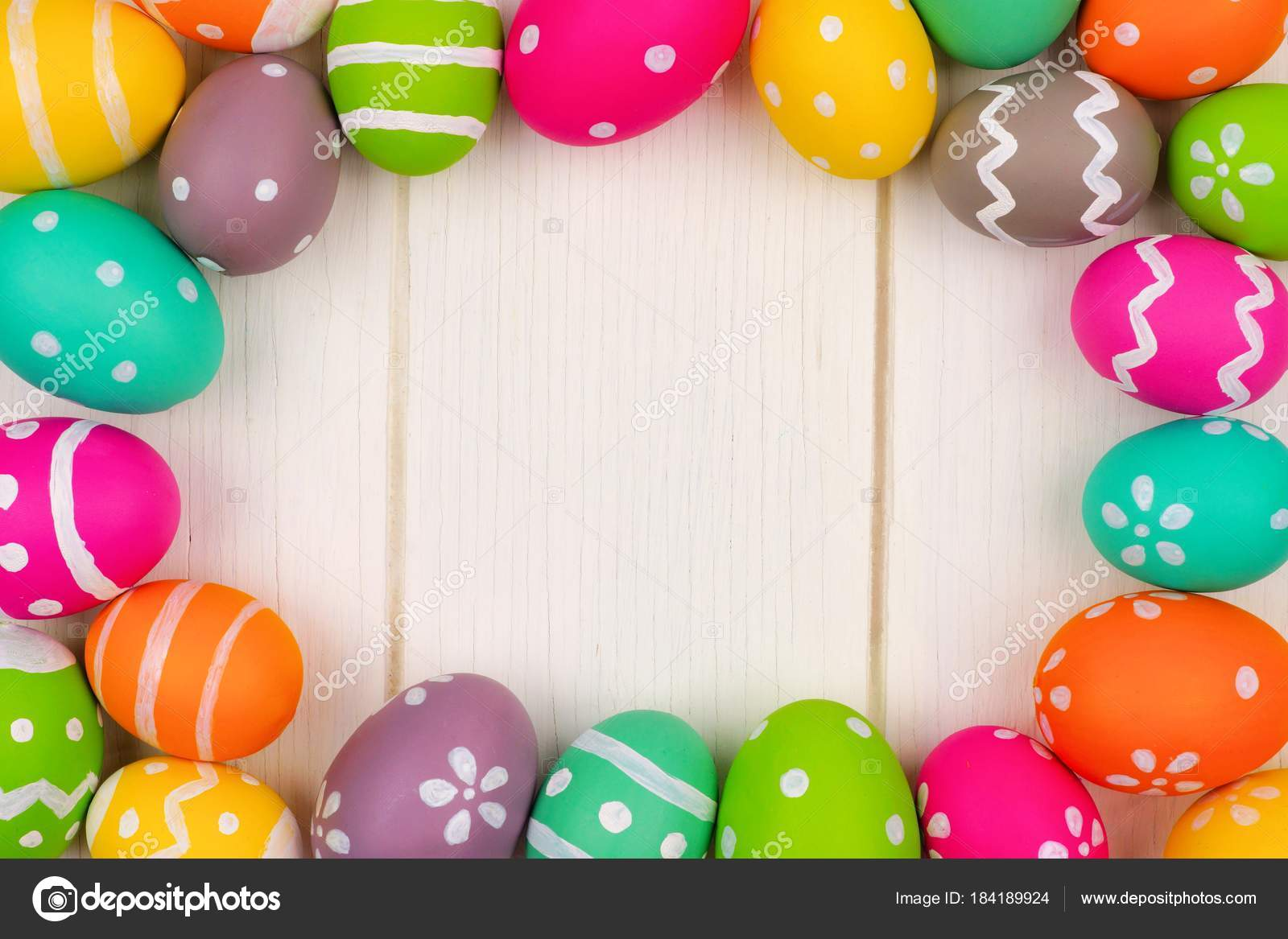 Colorful Easter Egg Frame White Wood Background Top View