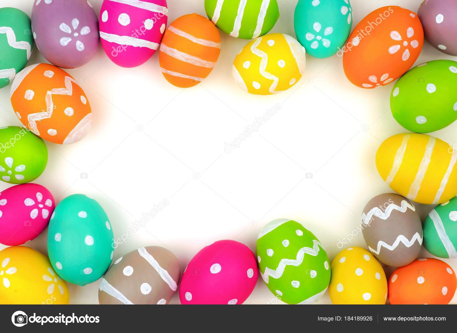 Colorful Easter Egg Frame Isolated White Background Top