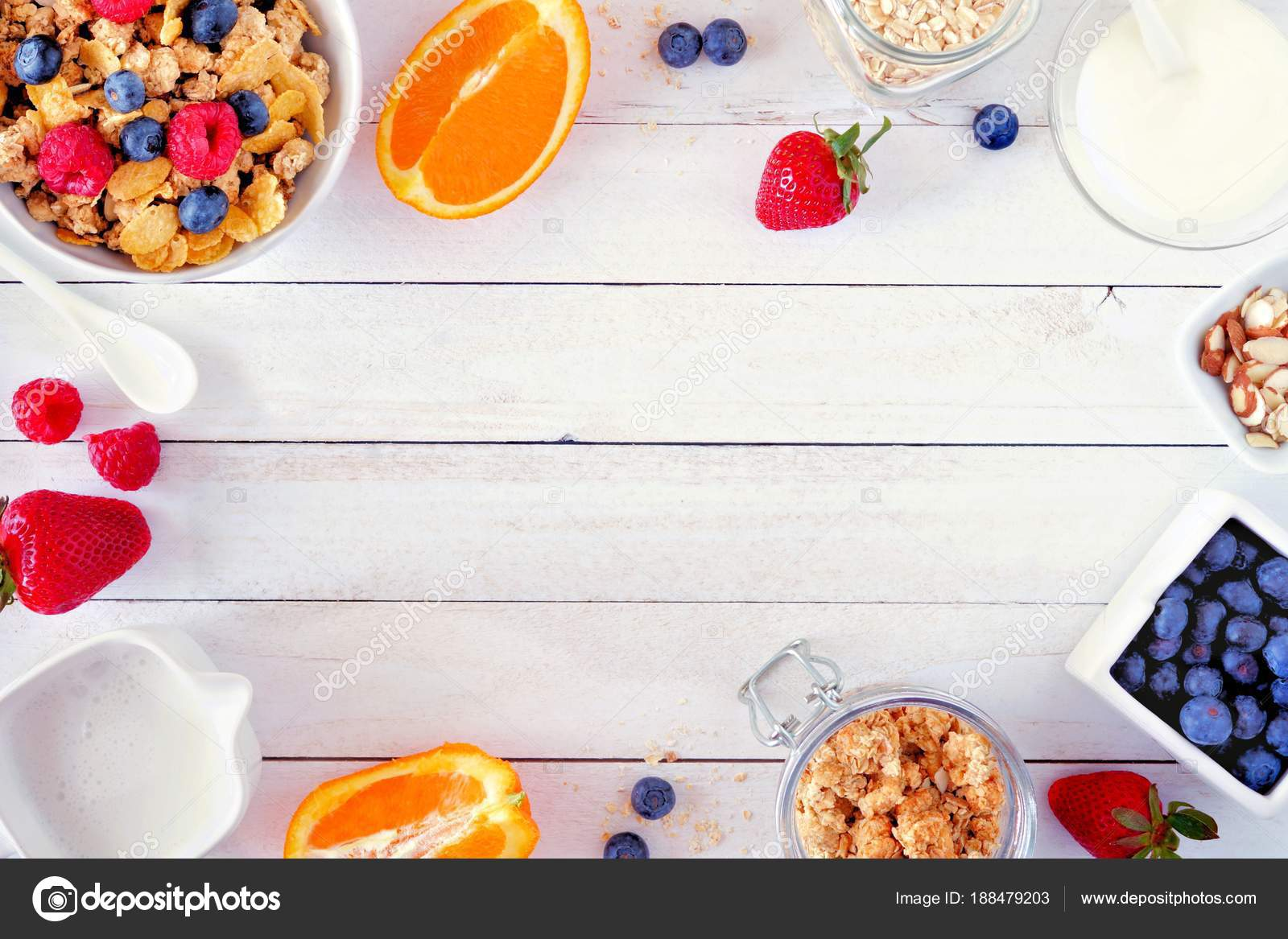 Ingredients Healthy Breakfast Forming Frame White Wood Background ...