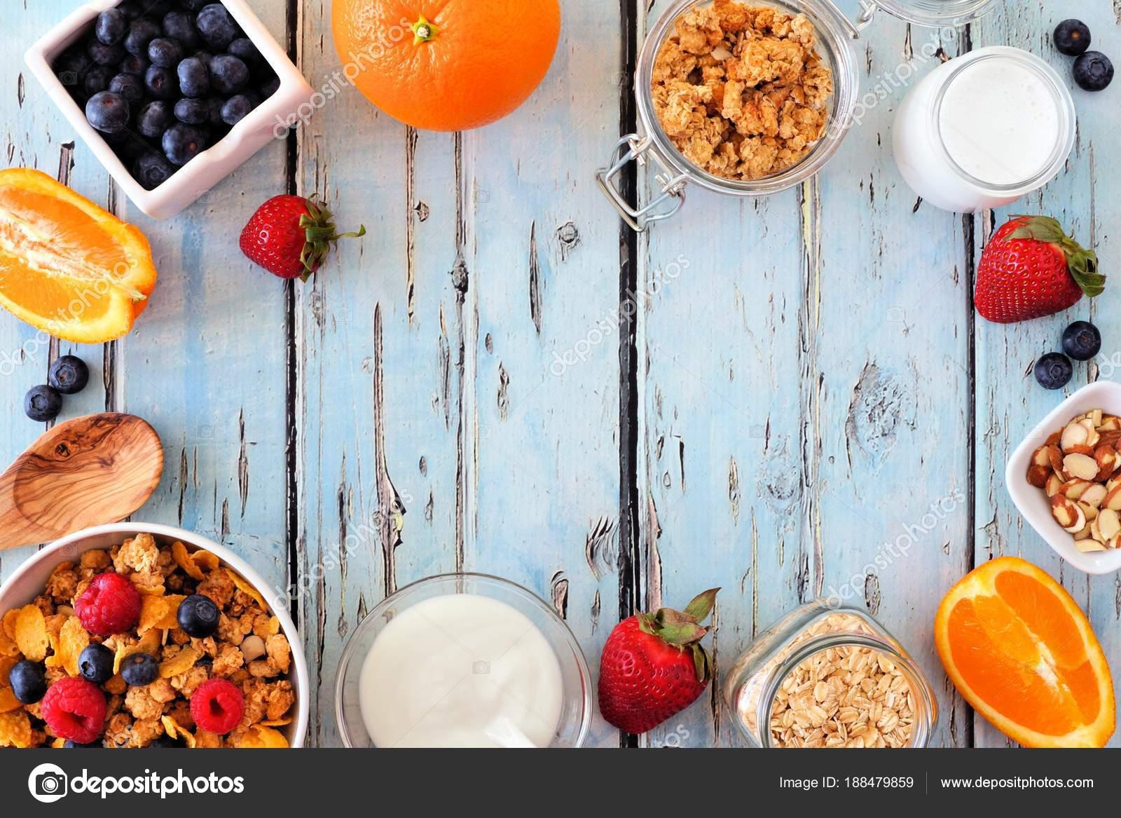 Cereal Ingredients Healthy Breakfast Forming Frame Blue Wood ...