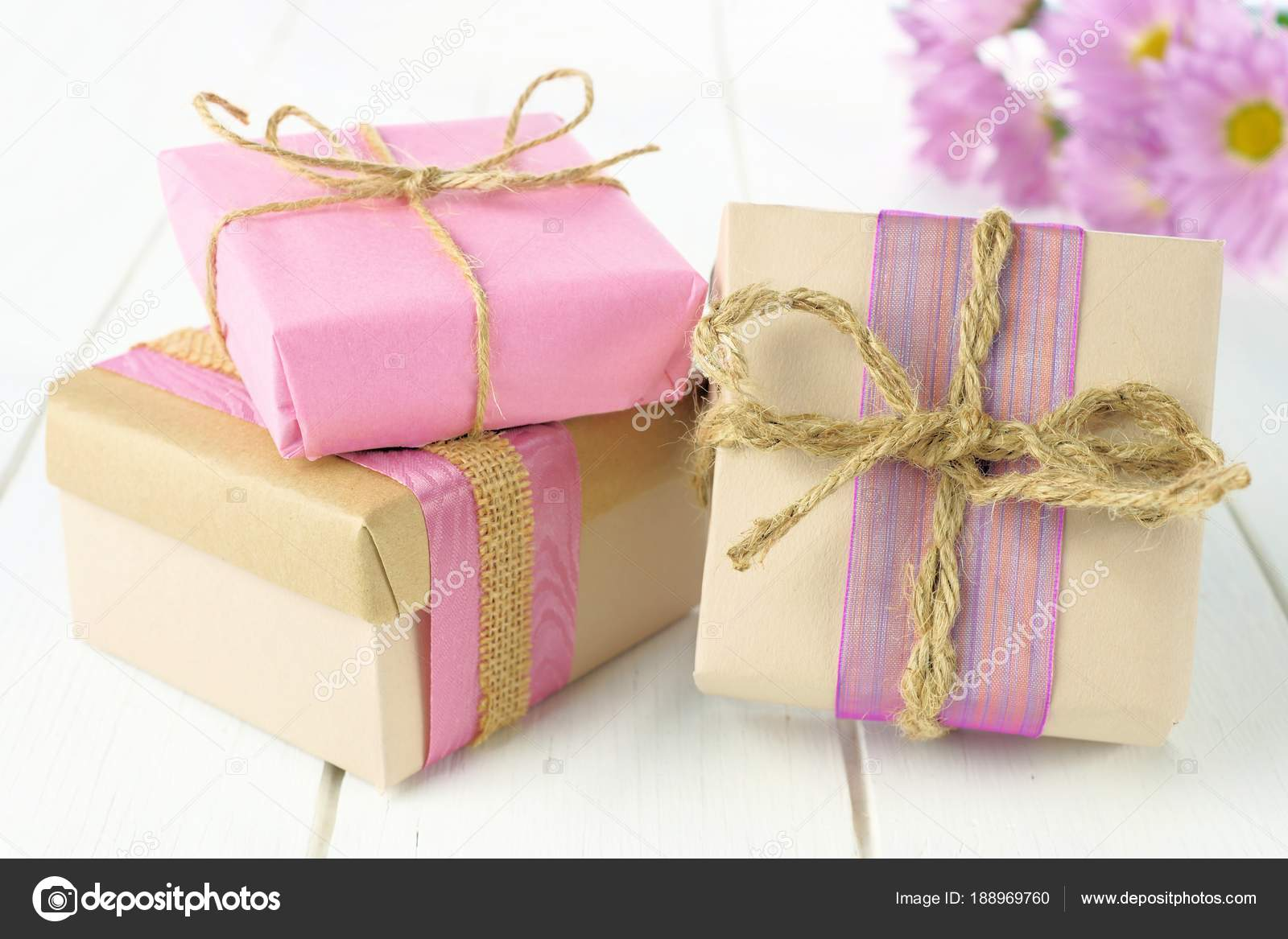 Group Handmade Gift Boxes Brown Pink Paper Wrap White Wood — Stock ...