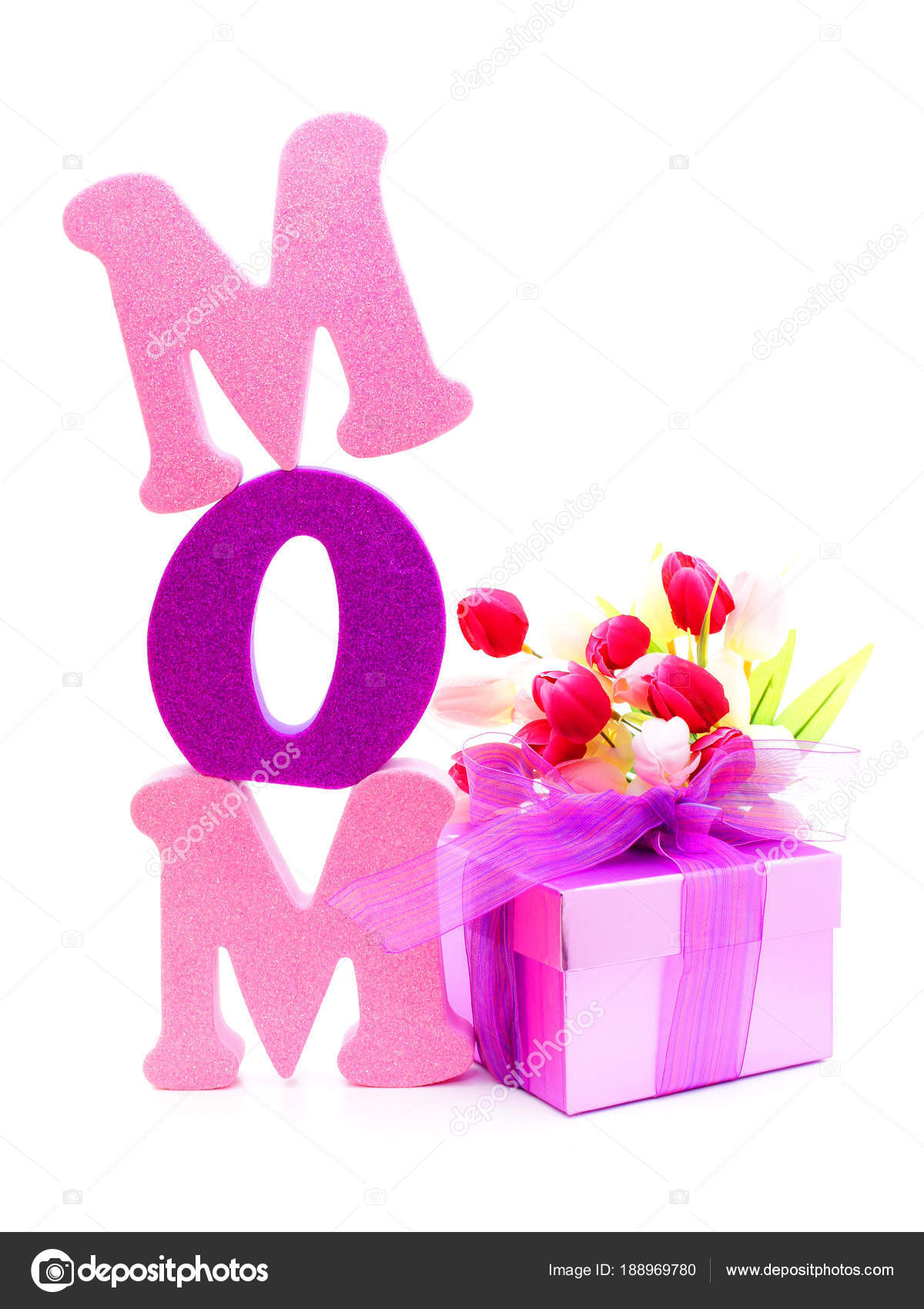 Mothers Day Gift Box Flowers Foam Letters Spelling Mom Isolated
