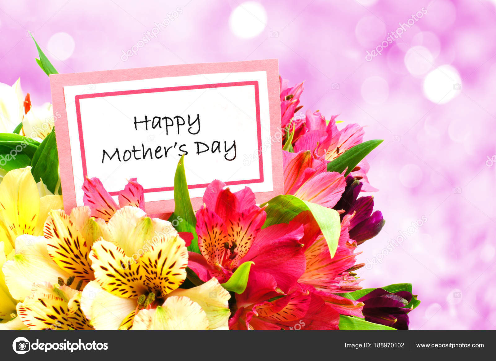 Happy Mother Day Tag Bouquet Flowers Twinkling Light Background