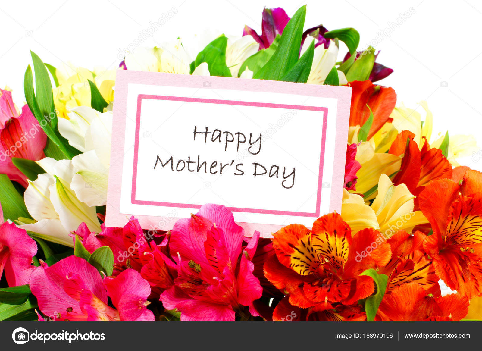 Happy Mothers Day Tag Close Bouquet Flowers White — Stock Photo ...