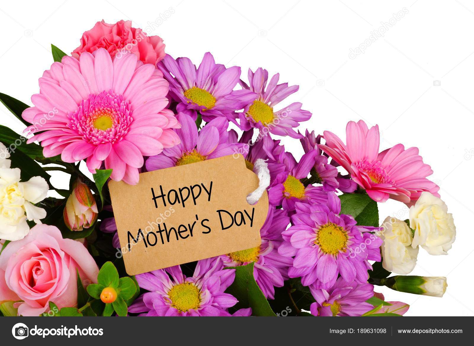 Happy Mothers Day Tag Close Bouquet Flowers White Background — Stock ...