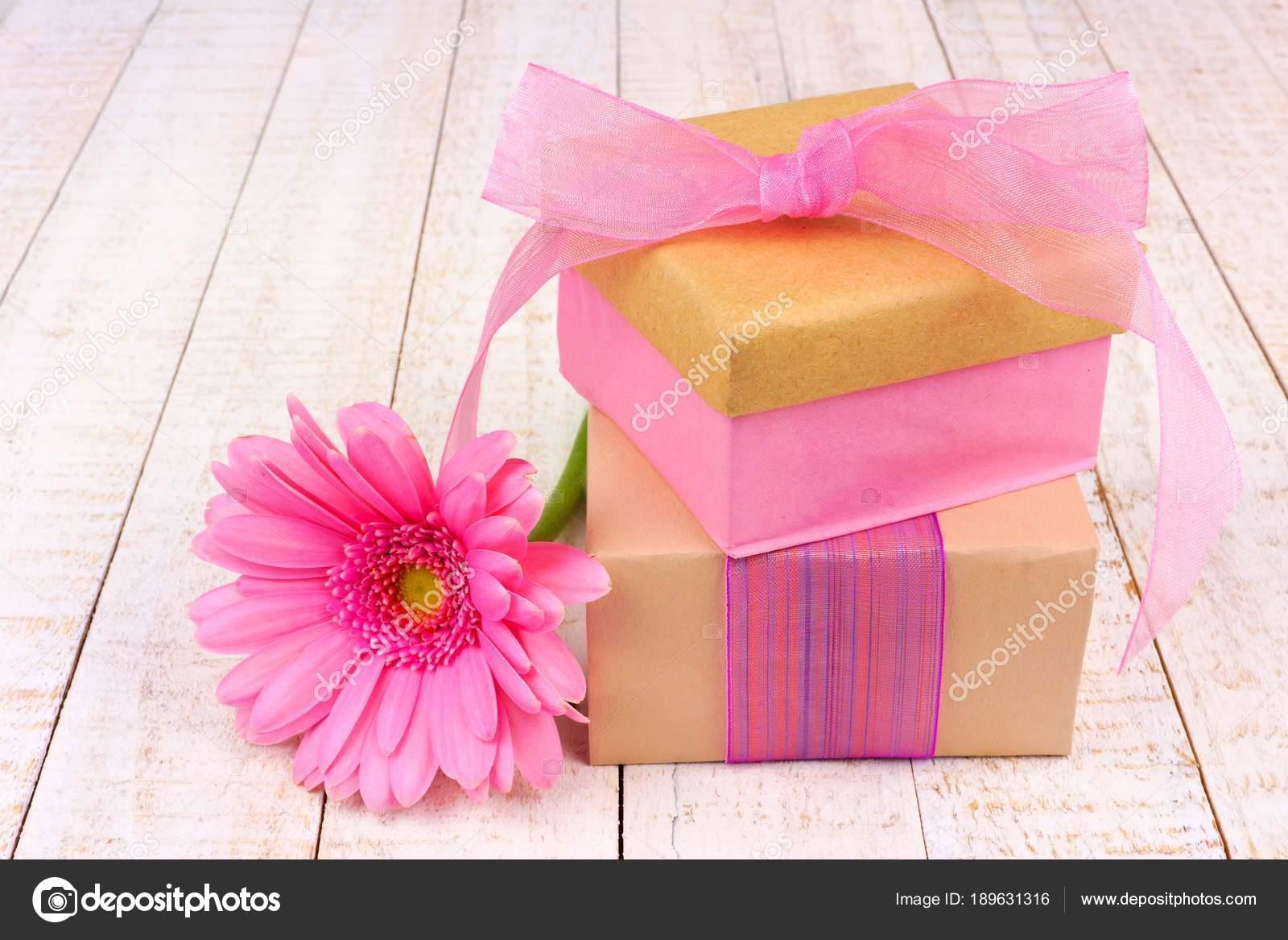 Handmade Gift Boxes Pink Gerber Daisy Flower White Wood — Stock ...