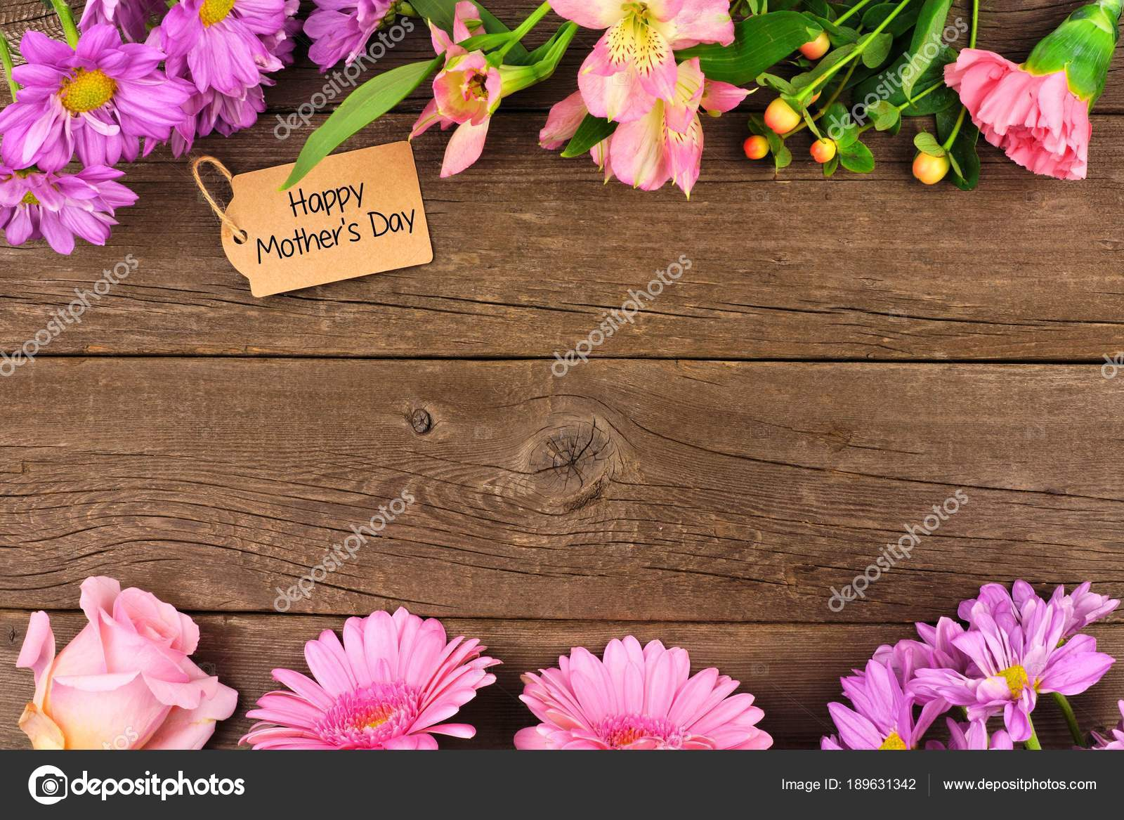 Double Border Flowers Mothers Day Gift Tag Rustic Wood Background Stock Photo