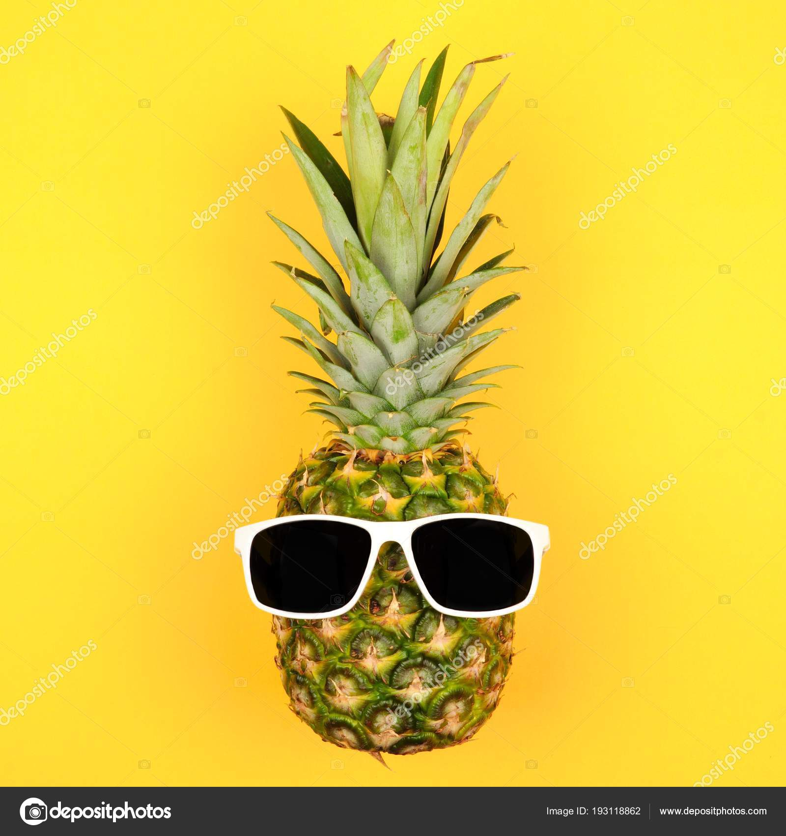 e4ee55d5f Hipster Pineapple Sunglasses Top View Yellow Background Minimal ...