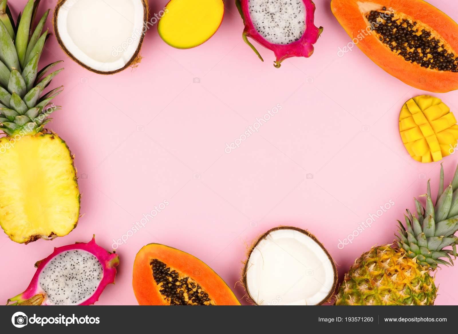 Tropische Früchte Rahmen Mit Drachenfrucht Papaya Kokosnuss Ananas ...