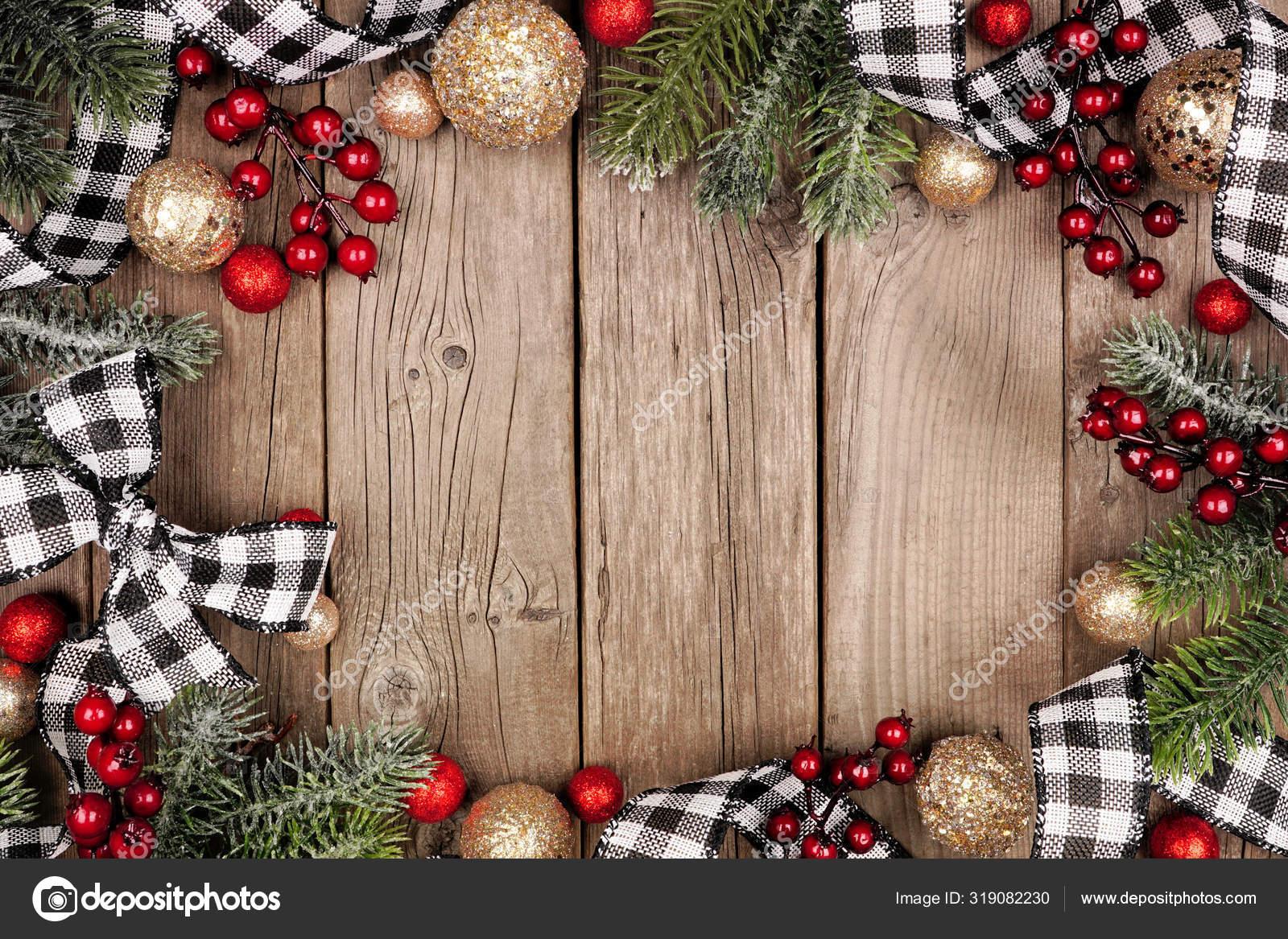 Christmas Frame White Black Checked Buffalo Plaid Ribbon Baubles Tree Stock Photo Image By C Jenifoto 319082230