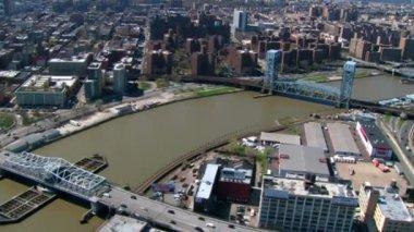 Aerial over jersey city bridges