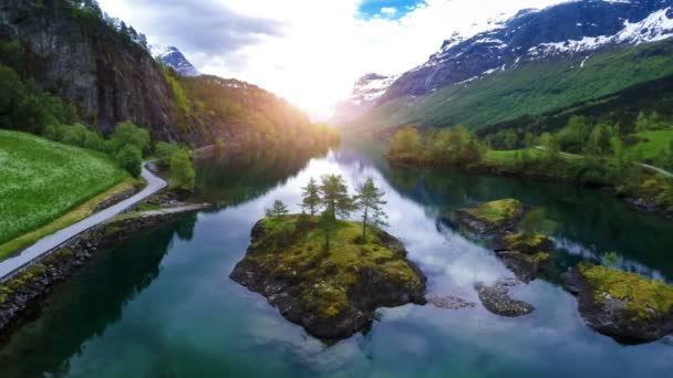 aerial footage from beautiful nature norway