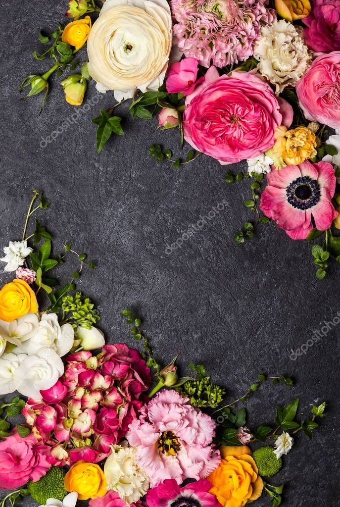 Flowers on the black background