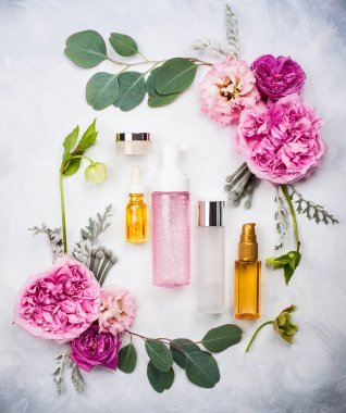 skin care products  and flowers
